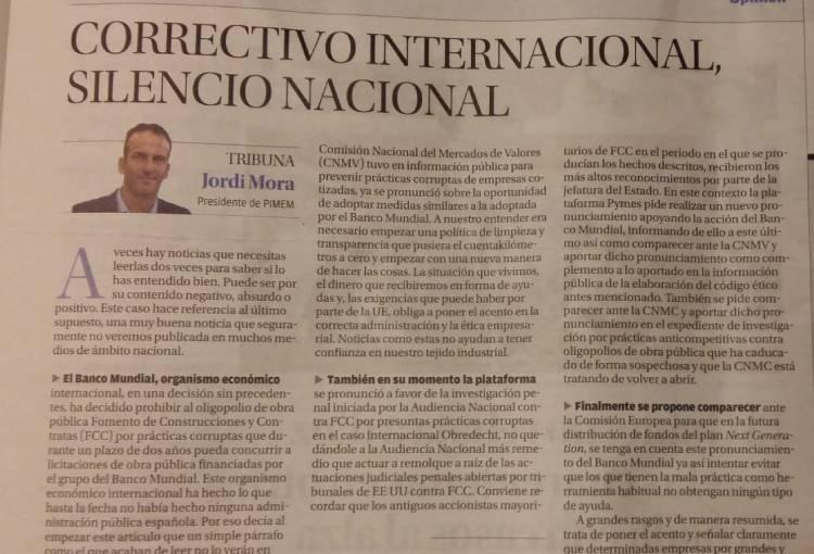 Correctivo internacional, silencio nacional